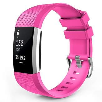 Fitbit Charge 2 Watch Bands, Mignova Soft Silicone Replacement Sport Watch Wrist Band Strap for Charge 2 Fitness Tracker - Large Size (Hot Pink)