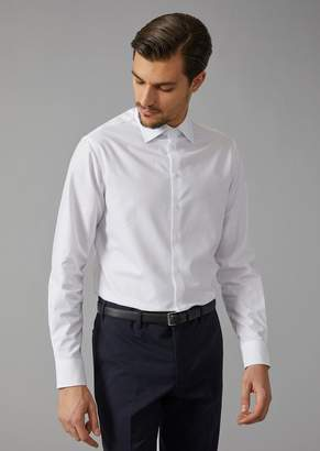 Giorgio Armani Cotton Shirt With Small Point Collar