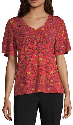Liz Claiborne Short Sleeve Flutter Top - Tall