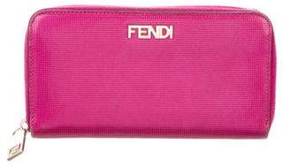 Fendi Embossed Leather Zip Wallet