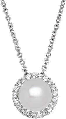 Honora Style Pearl and Topaz Halo Necklace