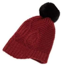 f95e0f6e7f0 Surell Girl s Rabbit Fur Pom-Pom Cable-Knit Hat