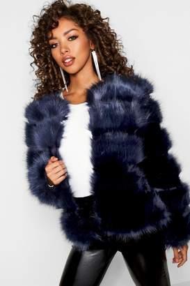 boohoo Boutique Panelled Faux Fur Coat