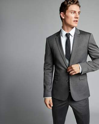 Express Extra Slim Charcoal Gray Wool Blend Oxford Suit Jacket