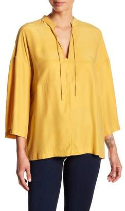 Frame Split Neck Peasant Top