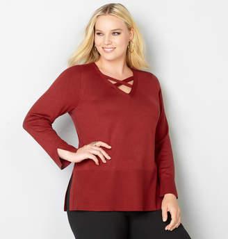 Avenue Criss Cross V-Neck Pullover Sweater