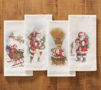 Pottery Barn Nostalgic Santa Napkins, Set of 4