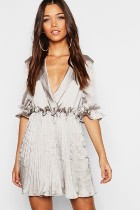 boohoo Satin Pleated Plunge Neck Skater Dress