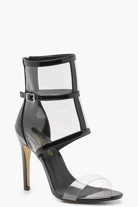 boohoo Patent Clear Strap and Cage Sandals