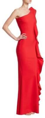 Chiara Boni Ruffled One-Shoulder Mermaid Gown