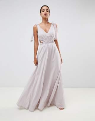 Asos Design DESIGN tie shoulder cut out side with embellished trim maxi dress