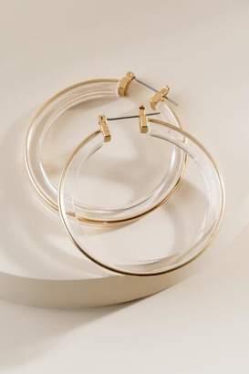 francesca's Marisol Lucite Hoop Earrings - Clear