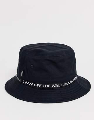 Vans bucket hat with taping in black