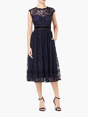 Adrianna Papell Short Lace Dress, Midnight