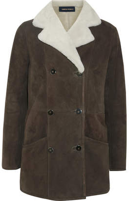 Vanessa Seward Earl Shearling-trimmed Suede Jacket - Taupe