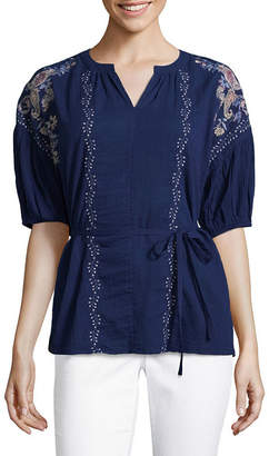 Liz Claiborne 3/4 Puffed Sleeve Embroidered Peasant Top