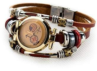 Christian Louboutin C&L Workshop Women's Lady's Girl's Fashion Wrist Bracelet Watch With Lovely Flag Genuine Leather Band Gift
