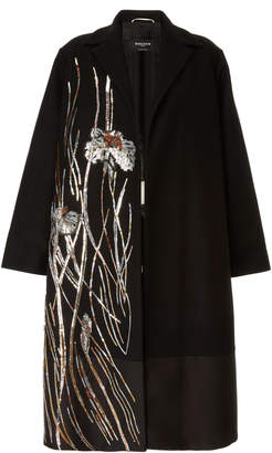 Rochas Sequin Embellished Wool-Blend Coat