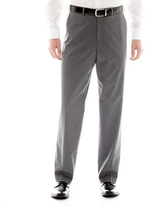 Izod Gray Striped Flat-Front Suit Pants