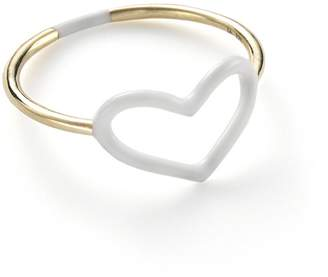 Jordan Askill White Enamel Heart Ring - Yellow Gold