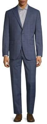 Saks Fifth Avenue Windowpane Plaid Wool Suit