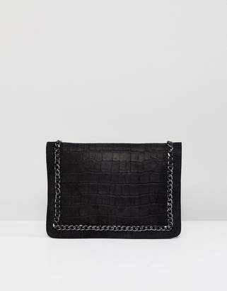 Asos Leather Chain Front Clutch Bag