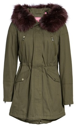 Women's Catherine Catherine Malandrino Parka With Removable Faux Fur Trim