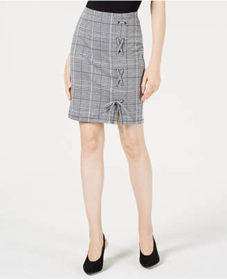 Project 28 Nyc Menswear Plaid Lace-Up Skirt