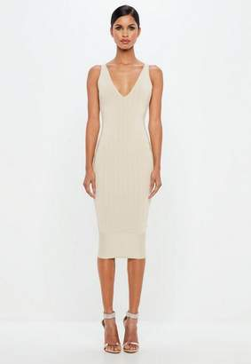Missguided Nude Bandage Scoop Back Bodycon Midi Dress