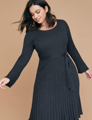 Lane Bryant Bell Sleeve Fit & Flare Ribbed Sweater Dress