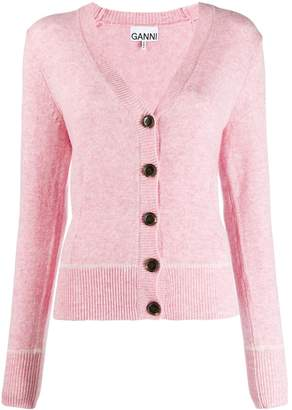 Ganni v-neck fitted cardigan