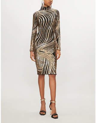 Forever Unique High-neck sequin-embellished dress