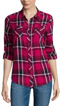 ARIZONA Arizona Long-Sleeve Classic Plaid Shirt- Juniors $40 thestylecure.com