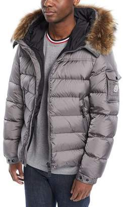 Moncler Men's Marque Fur-Trim Puffer Jacket