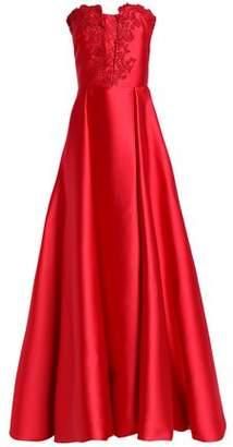 Carolina Herrera Embellished Embroidered Duchesse Satin Gown
