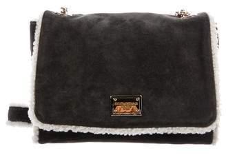 Dolce & Gabbana Suede & Shearling-Accented Shoulder Bag
