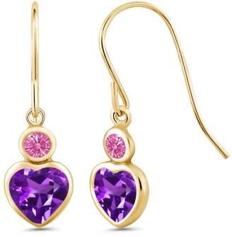 Swarovski Gem Stone King Carlo Bianca Purple 14K Yellow Gold Earrings Made With Zirconia