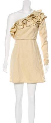 Valentino Ruffle-Accented One-Shoulder Dress