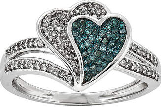 FINE JEWELRY 1/3 CT. T.W. White and Color-Enhanced Blue Diamond Double Heart Ring