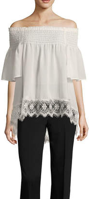 Libby Edelman Off The Shoulder Lace Hem Top