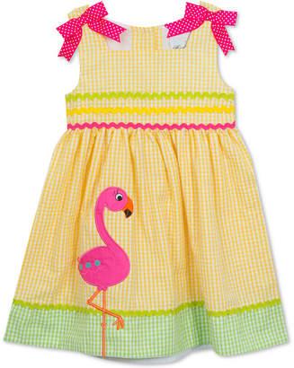 Rare Editions Flamingo Seersucker Dress, Baby Girls