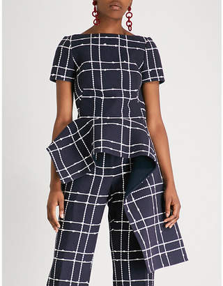 Oscar de la Renta Checked draped cotton-blend top