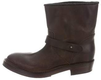 Brunello Cucinelli Leather Moto Ankle Boots w/ Tags