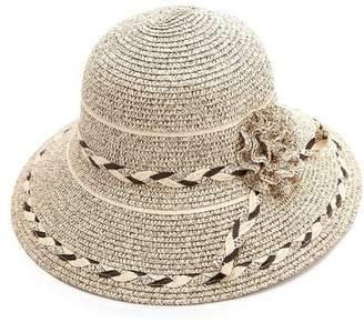 Siggi Summer Straw Panama Beach Fedora Floppy Sun Hat Wide Brim Flower Accent for Women