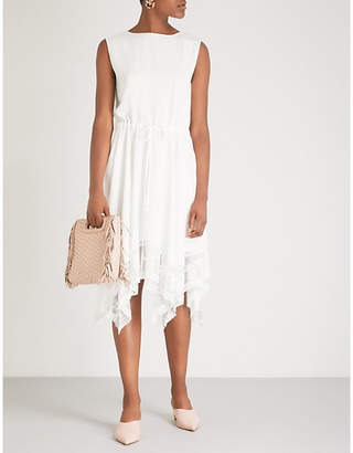 Maje Woven and lace-detail midi dress