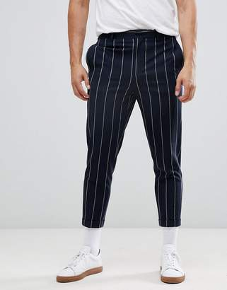 Asos DESIGN tapered smart pants in navy and white pin stripe
