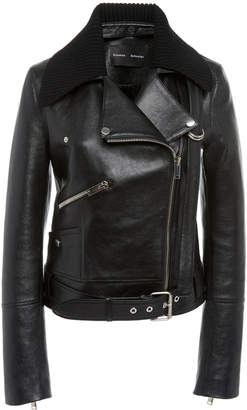 Proenza Schouler Knit Collar Leather Moto Jacket