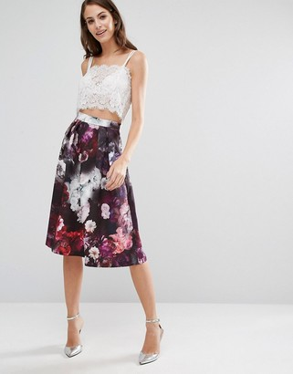 Oasis Winter Floral Midi Skirt $91 thestylecure.com