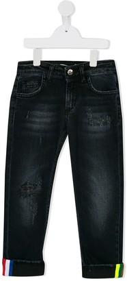 MSGM Kids tricolor stripe detail jeans