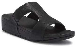 FitFlop H-Bar Shimmer Lizard-Embossed Wedge Sandal